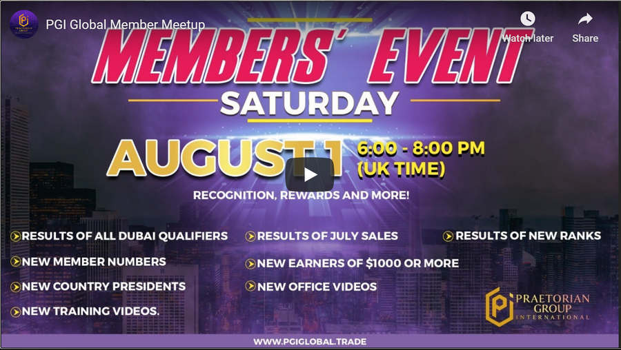 PGI Global Members' Live Zoom Super Saturday Aug. 1 Meetup